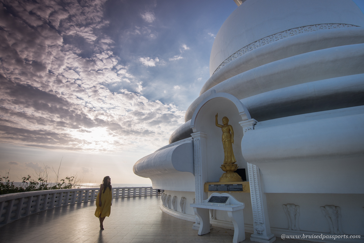 Japanese peace pagoda Galle sunset