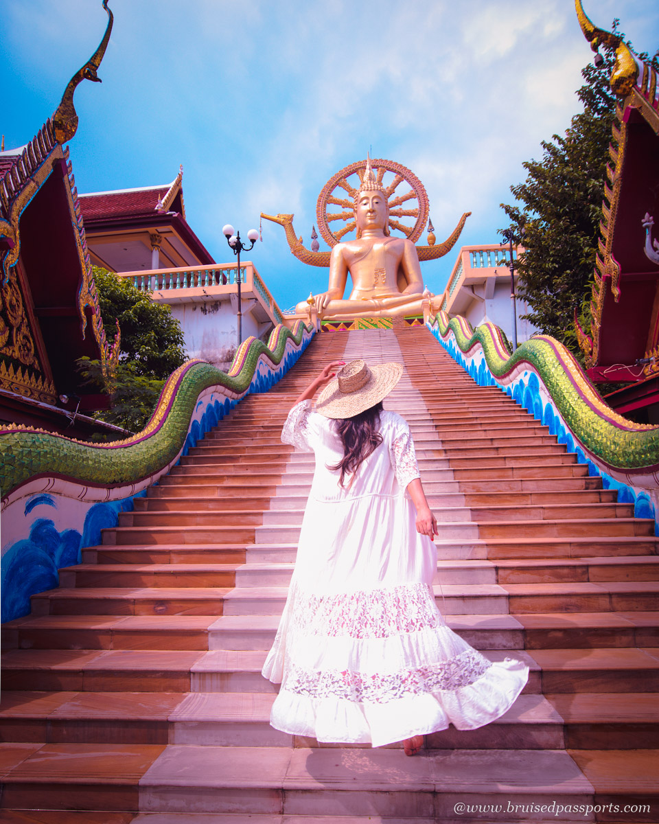 Girl in a Flowing dress at Giant Buddha in Koh Samui