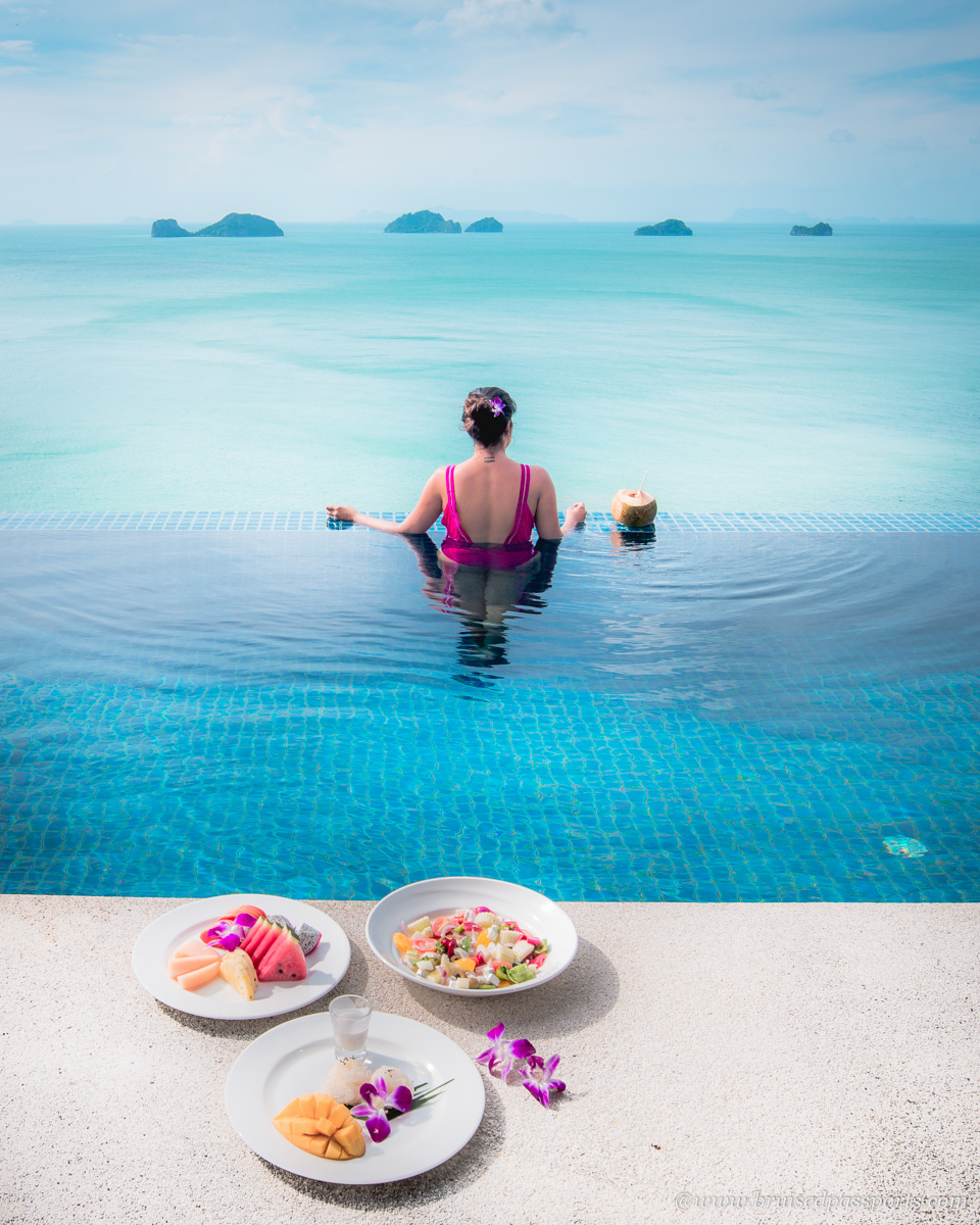 Savi in infinity pool at Conrad Koh Samui