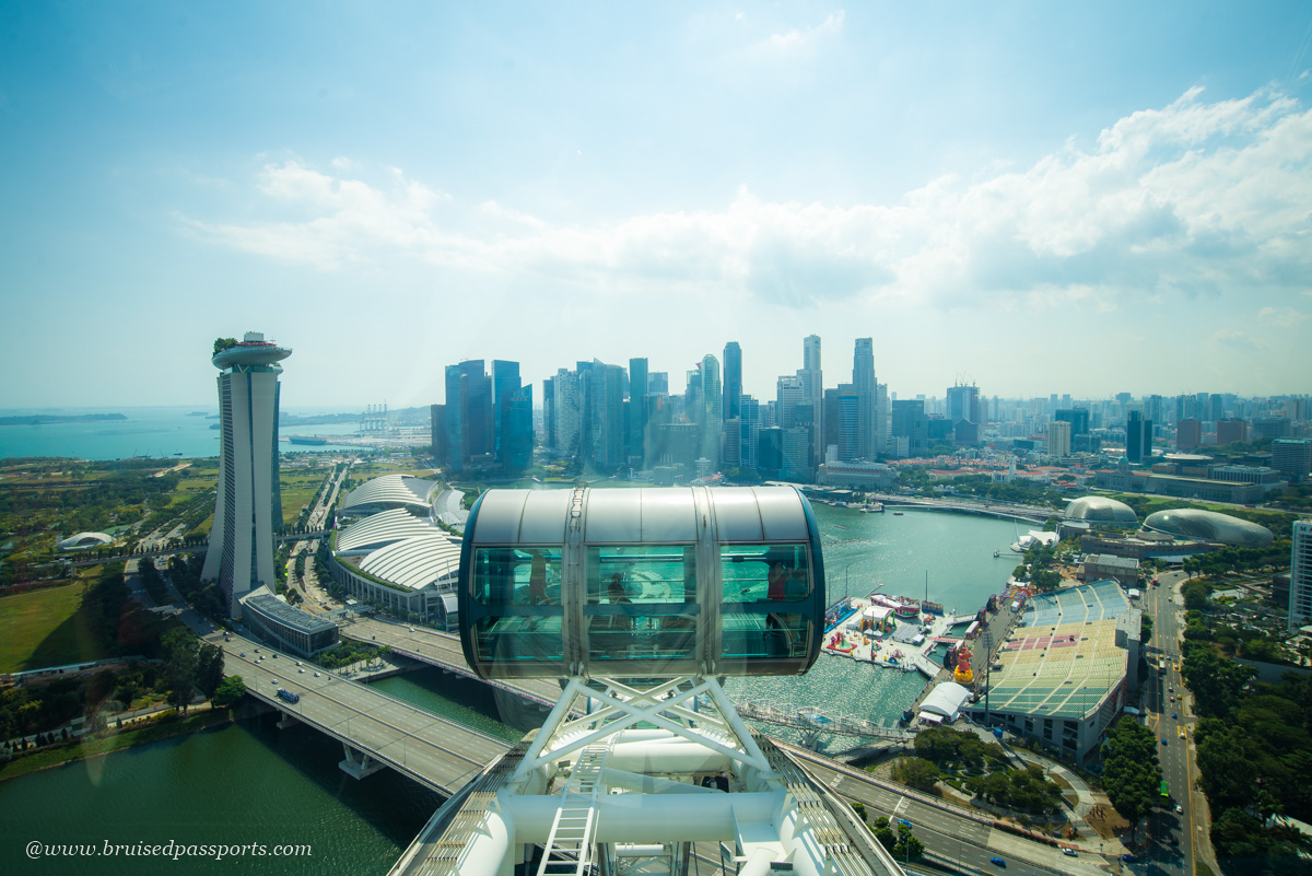 view of Singapore skyline from singapore flyer
