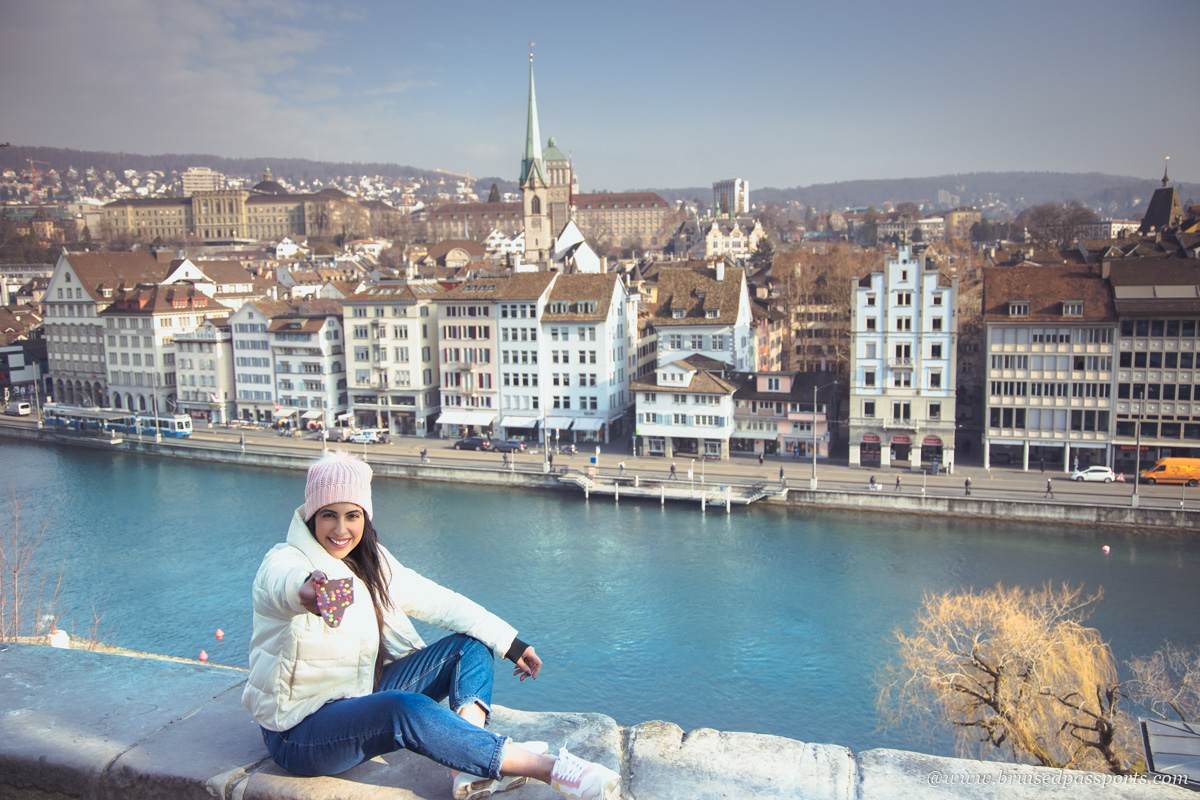 view of Zurich from Lindenhof hill