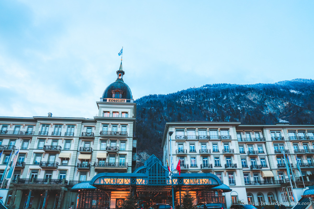 facade of victoria jungfrau grand hotel and spa in Interlaken