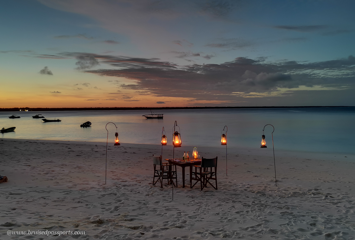 dinner at the beach at AndBeyond Mnemba lodge