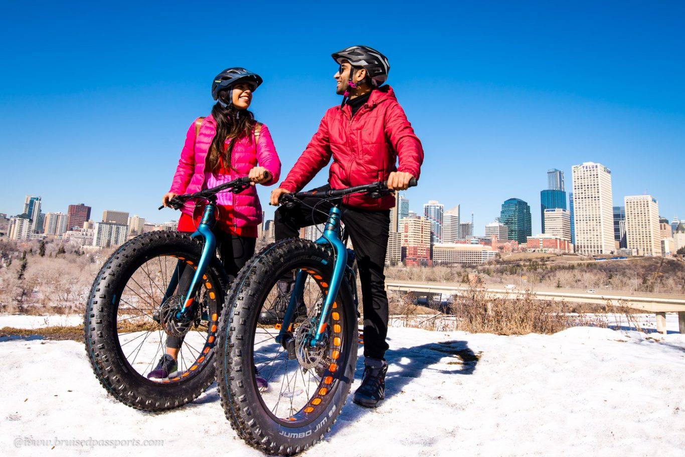 couple on a fat bike tour in Edmonton