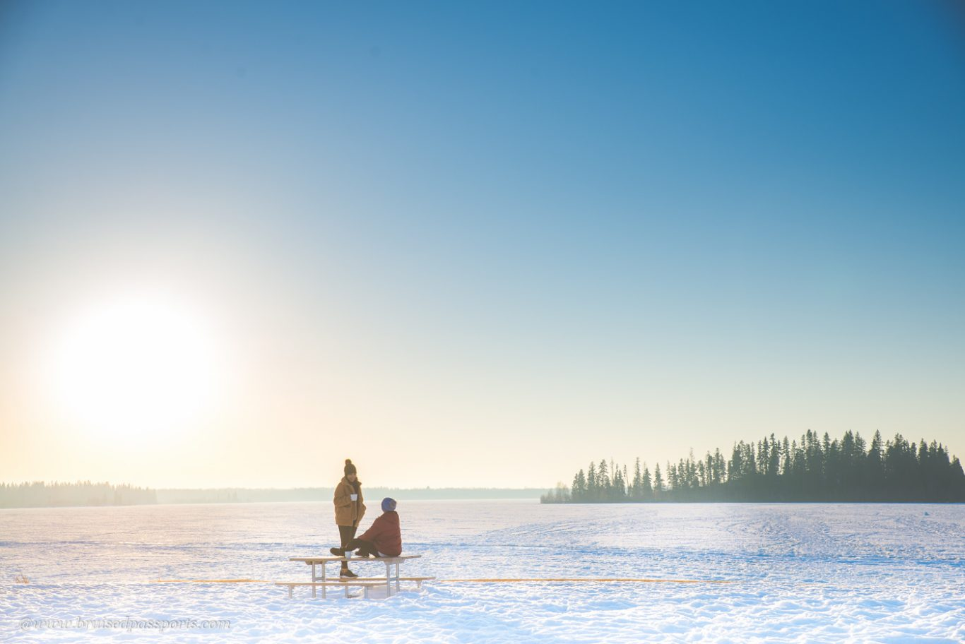 Couple enjoying coffee at Elk Island National Park