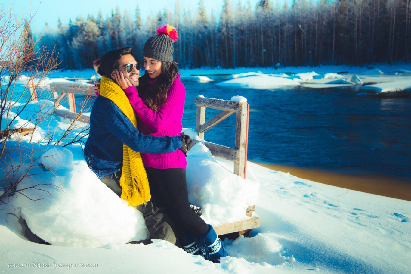 Couple in woodland near Rovaniemi