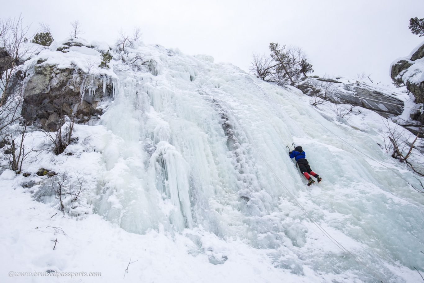 Ice wall climbing in Yllas Finland