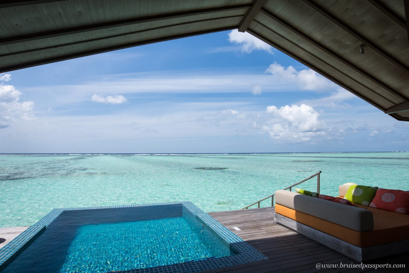 patio at over water villa Maldives