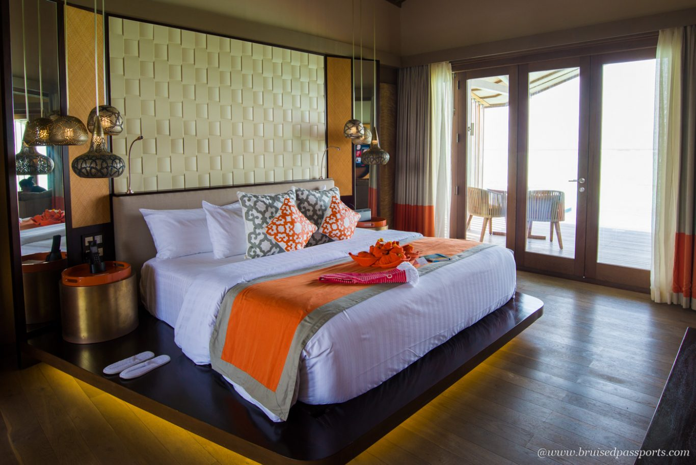 Bedroom at over water villa at club med finolhu
