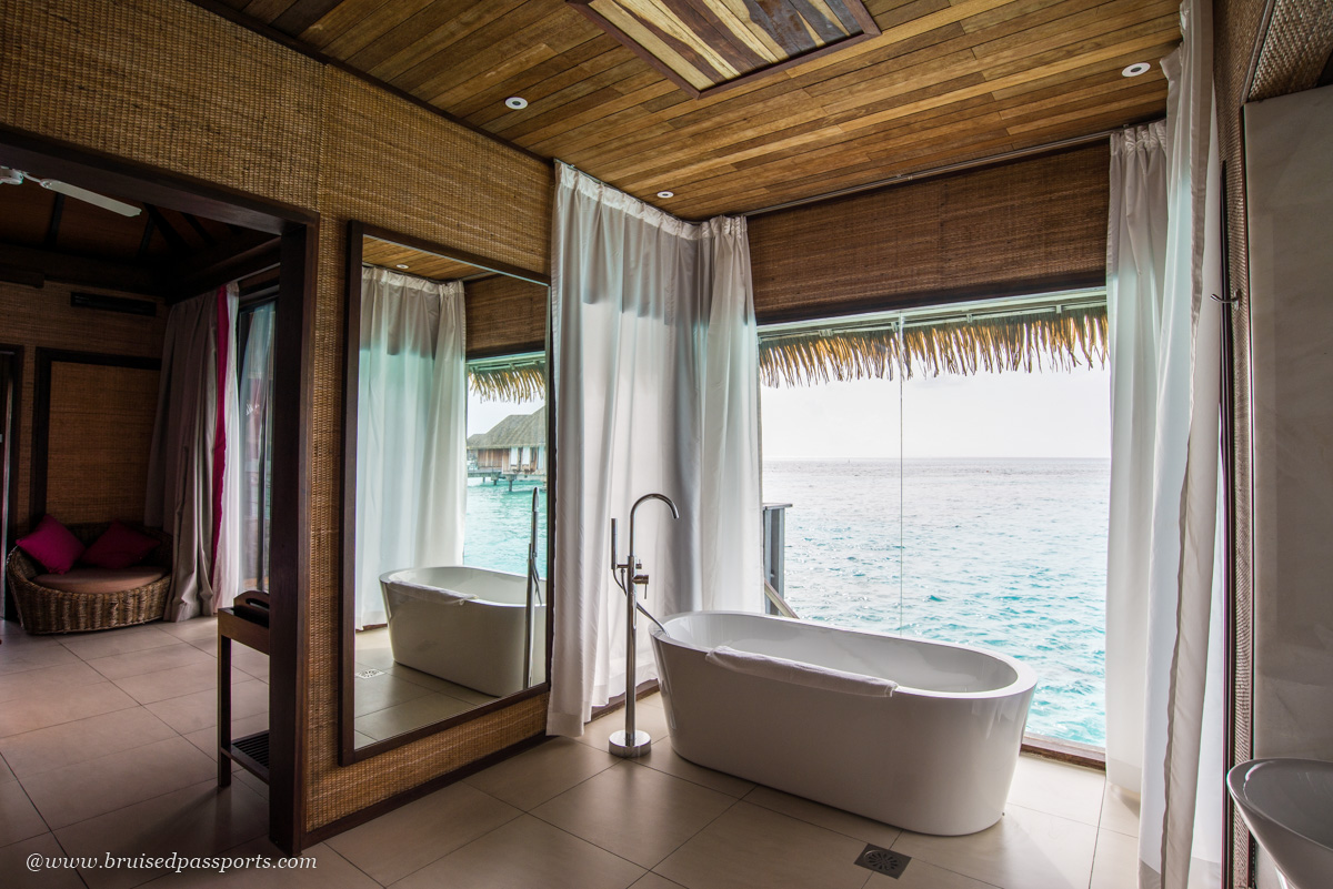bathtub in over water villa at club med kani maldives