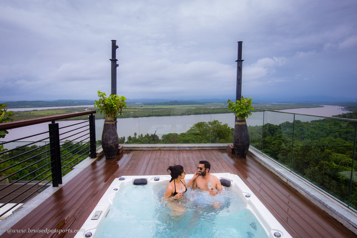 jacuzzi and private terrace in the presidential suite at Double Tree Hilton Goa