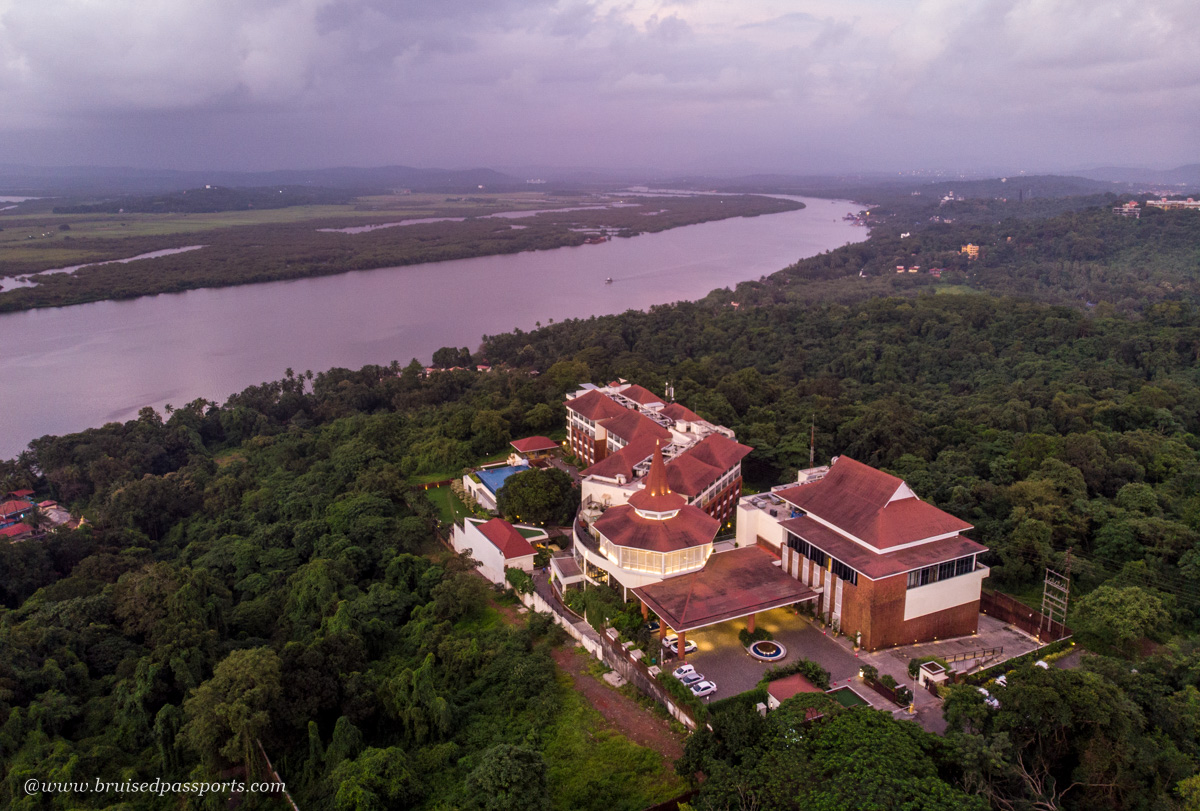 aerial view of Double Tree Hilton Goa with Mandovi river in background