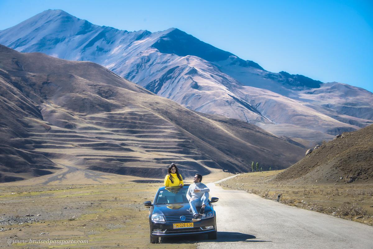Couple on road trip in Azerbaijan
