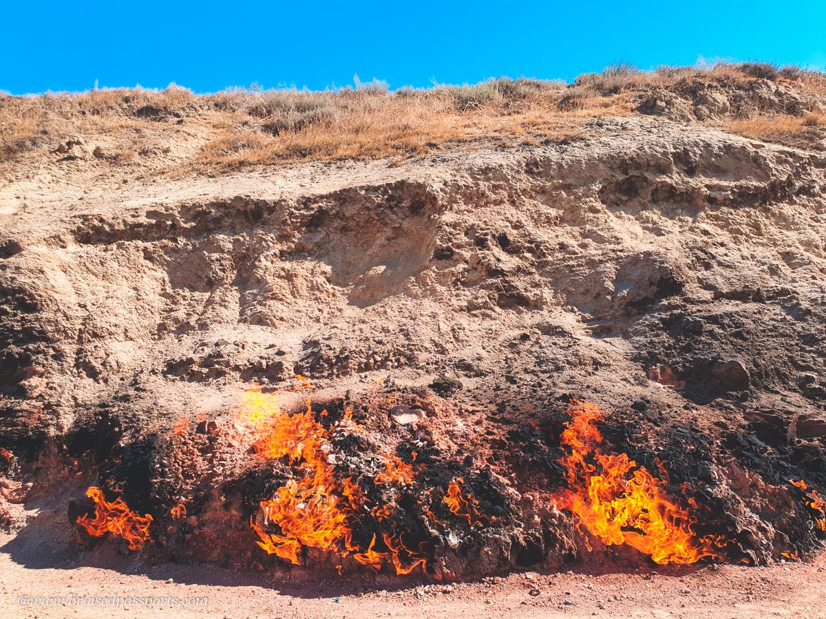 constant fire burning at religious site Yanardag in Baku