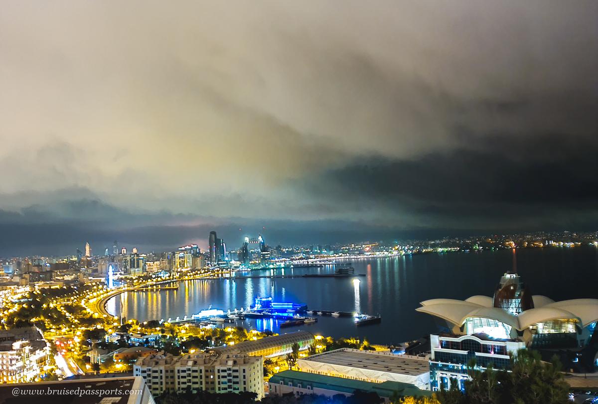 Night photography spot in Baku Azerbaijan